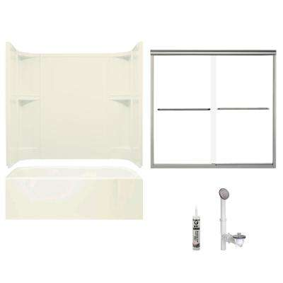 Accord 30 in. x 60 in. x 72 in. Bath and Shower Kit with Right-Hand Drain in Biscuit and Brushed Nickel