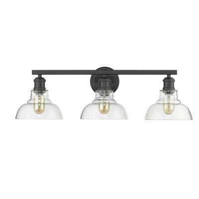 Carver 3-Light Black with Clear Glass Bath Vanity Light
