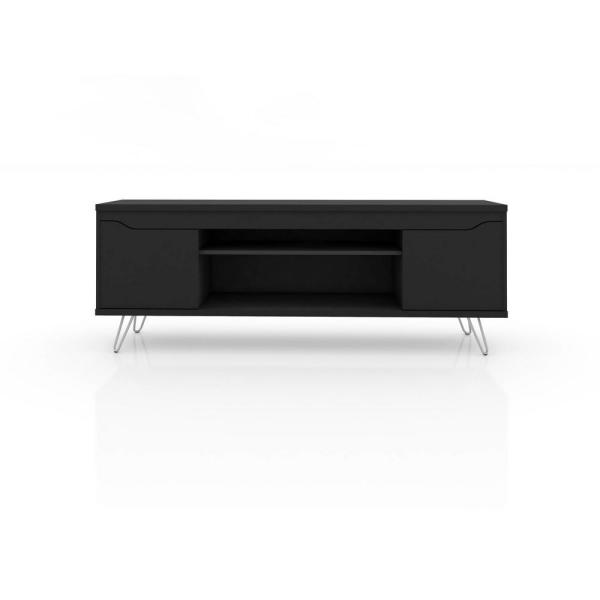 Manhattan Comfort Baxter 62.99 in. Black 4-Shelf TV Stand 217BMC8