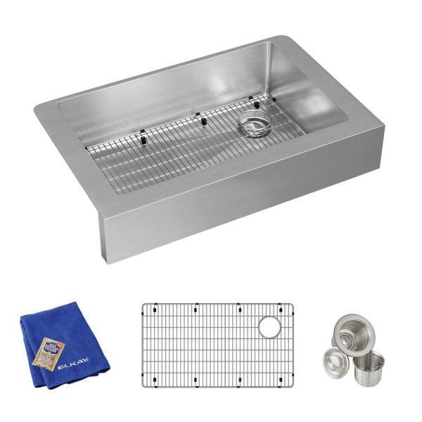Crosstown Farmhouse/Apron-Front Stainless Steel 36 in. Single Bowl Kitchen Sink with Bottom Grid and Drain