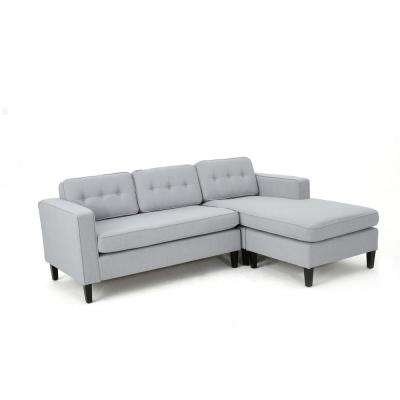 2-Piece Light Gray Fabric Chaise Sectional