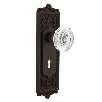 Egg and Dart Plate Interior Mortise Crystal Egg and Dart Door Knob in Oil-Rubbed Bronze