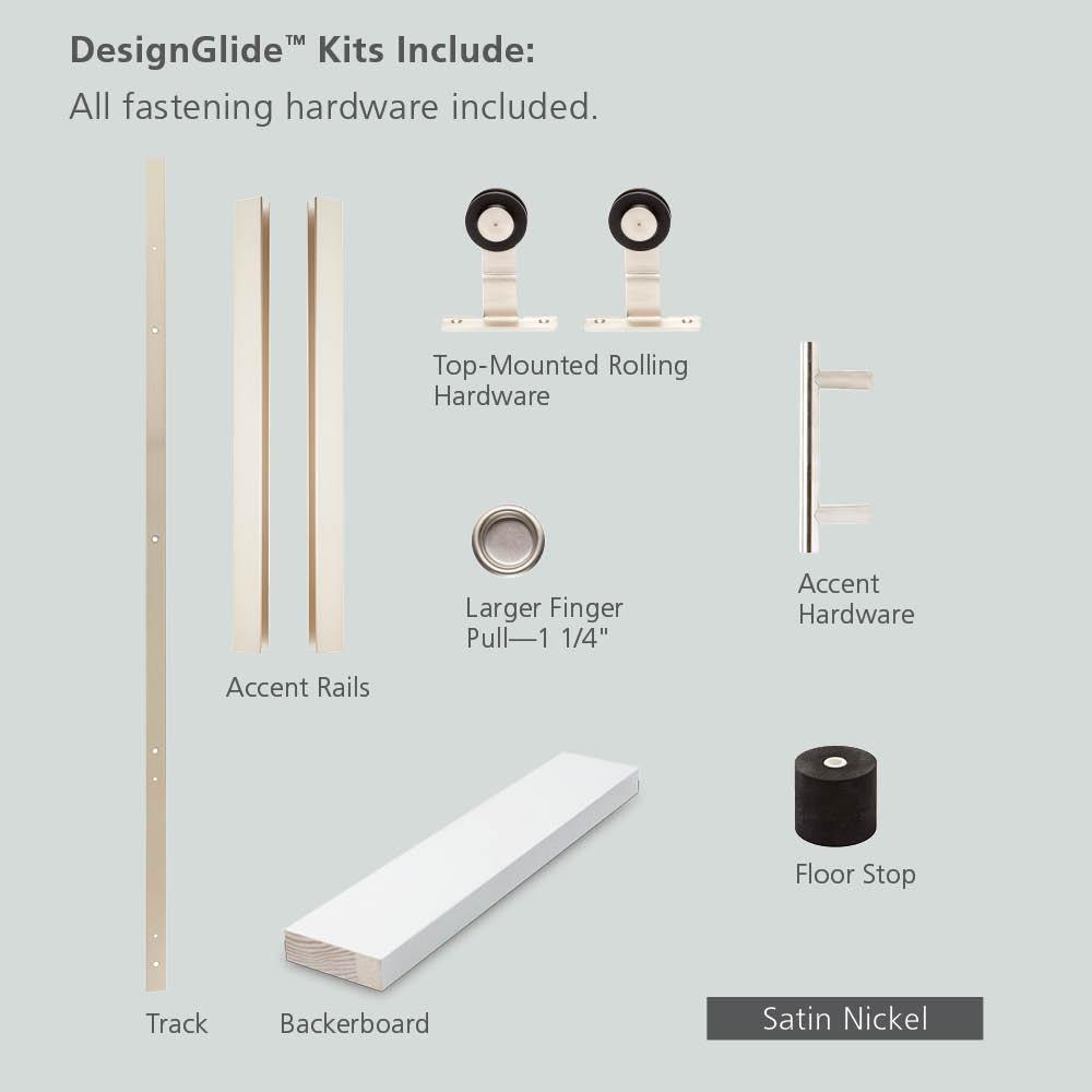 72 in. DesignGlide Satin Nickel Soft-Close Barn Door Sliding Door Hardware Kit