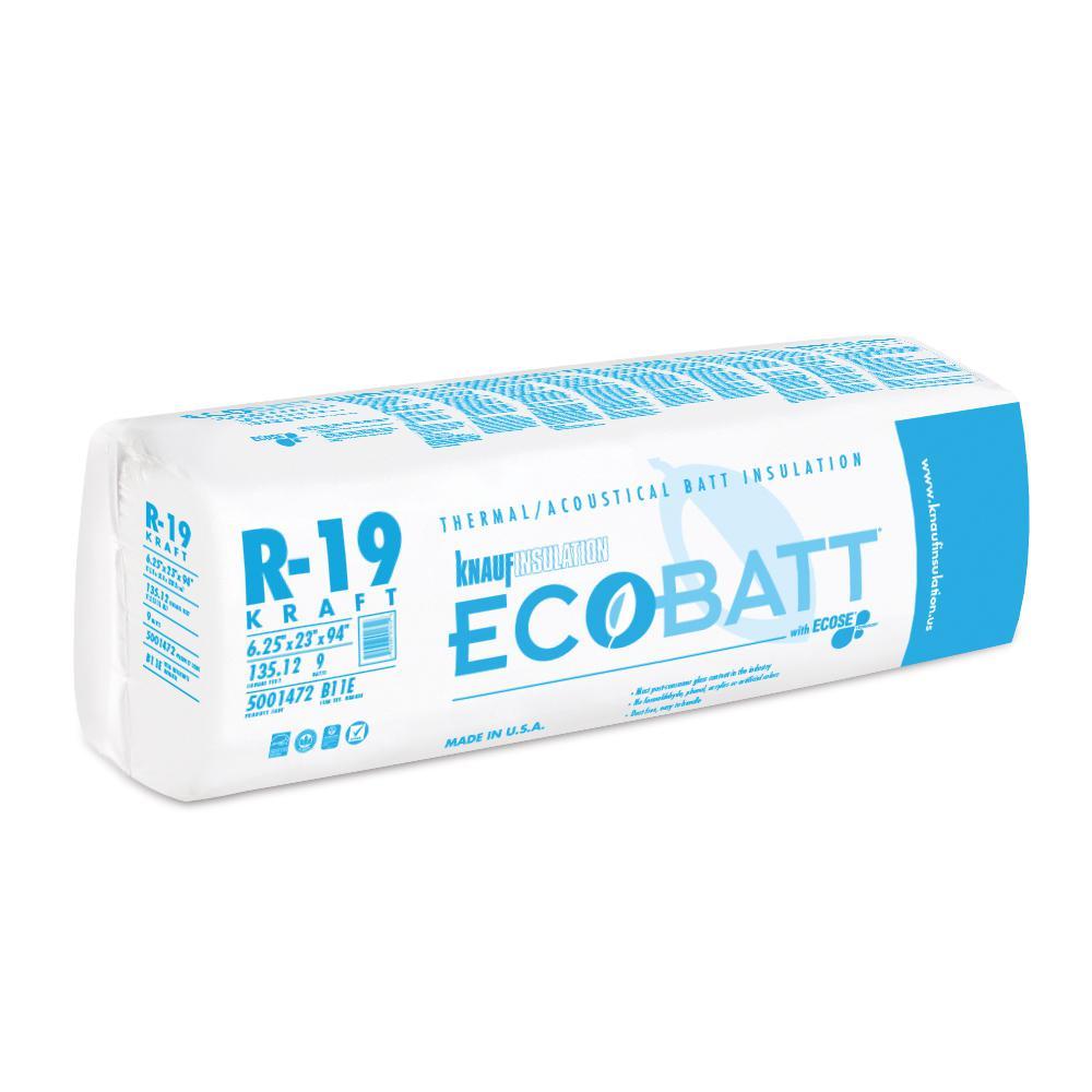 R-19 Kraft Faced Fiberglass Insulation Batt 23 in. W x 94 in. L