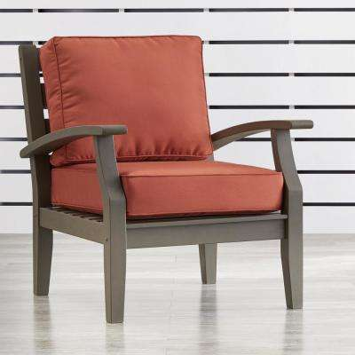 Verdon Gorge Gray Oiled Wood Outdoor Occasional Lounge Chair with Red Cushion