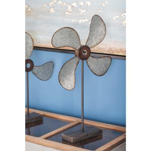 24 inch Metal Fan Decorative Sculpture in Distressed Gray and Brown by
