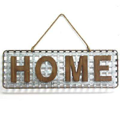 Metal Basket Weave Home Sign