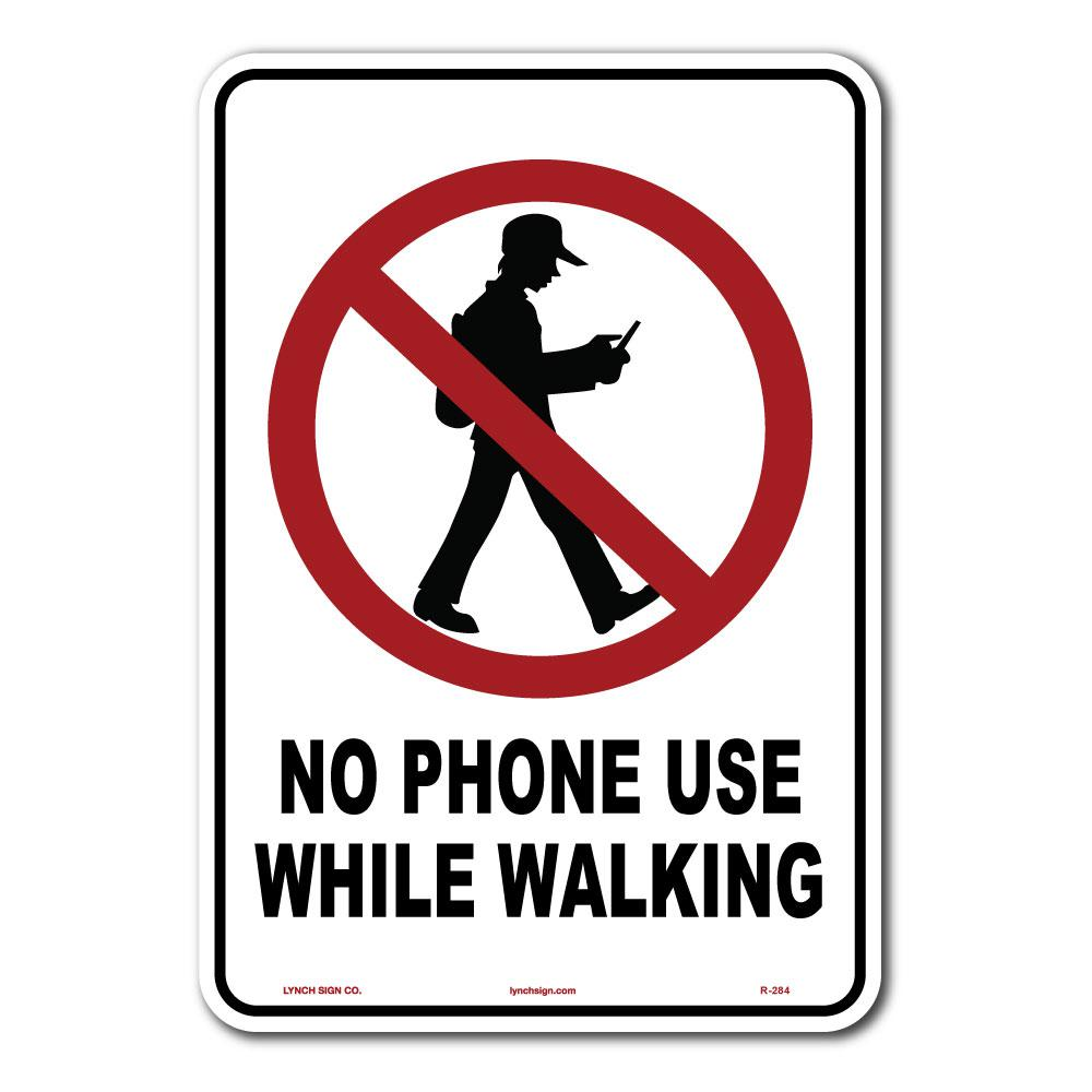 lynch sign 10 in x 14 in no phone use while walking sign printed
