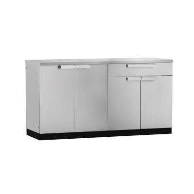 Stainless Steel Classic 3-Piece 97x36x64 in. Outdoor Kitchen Cabinet Set on Casters