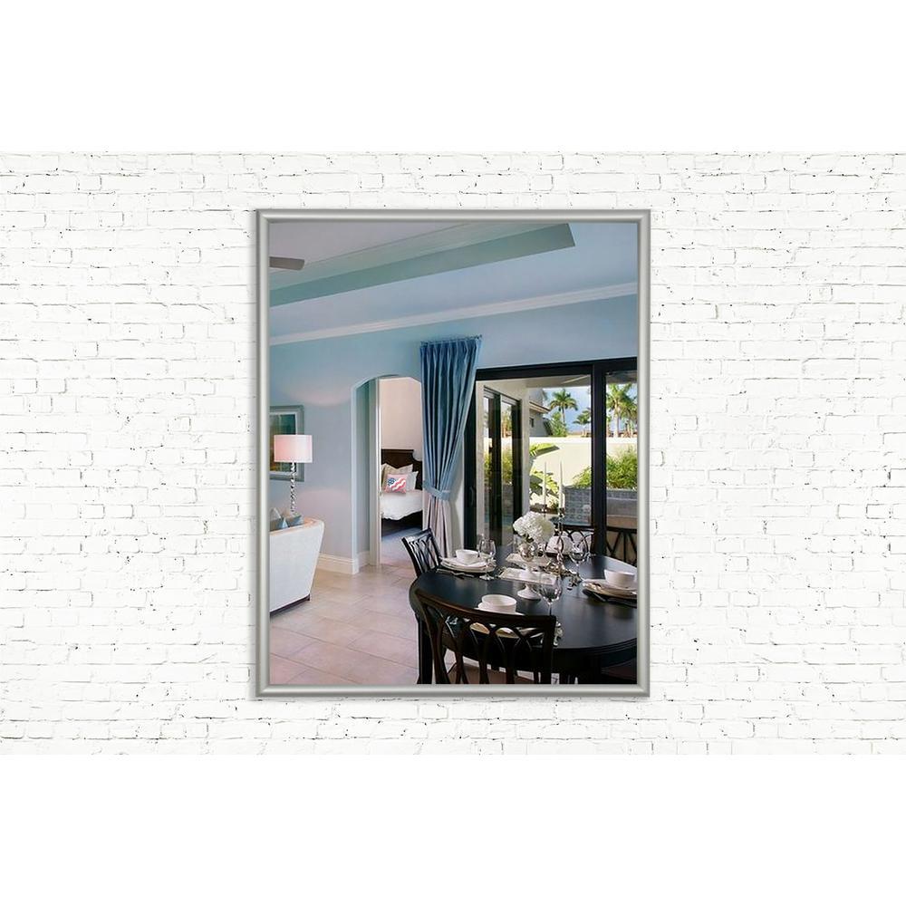 30.625 in. x 18.625 in. Foxtrot Satin Silver Wide Vanity Wall Mirror