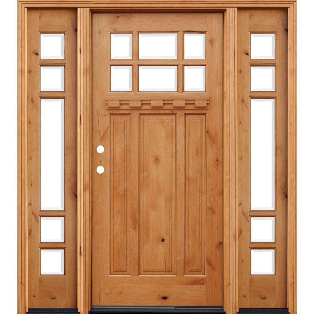66in.x80in. Craftsman 6 Lt Stained Knotty Alder Wood Prehung Front Door