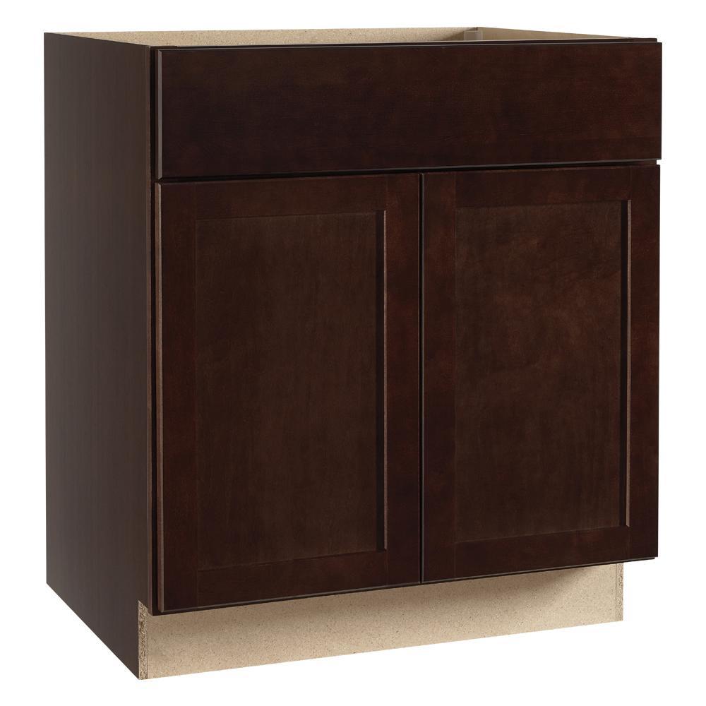 Shaker Assembled 30 x 34.5 x 21 in. Bathroom Vanity Base Cabinet in Java