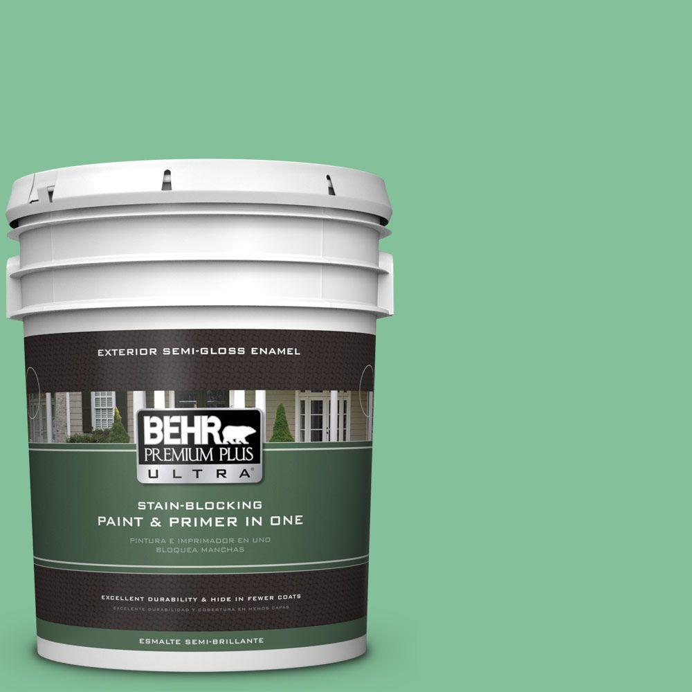 BEHR Premium Plus Ultra 5-gal. #P410-4 Willow Hedge Semi-Gloss Enamel Exterior Paint