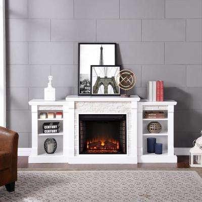 Nassau 71.75 in. W Faux Stone Electric Fireplace with Bookcases in White