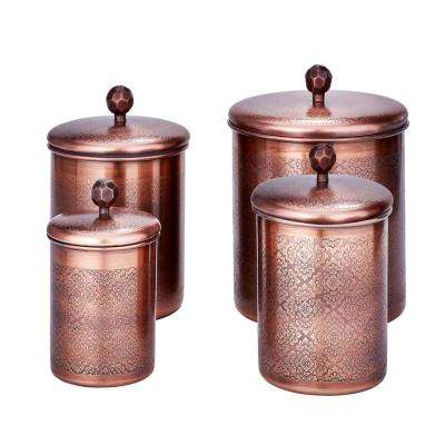 "4-Piece 4 Qt, 3 Qt. and 2 Qt. Antique Copper ""Floral"" Canister Set"