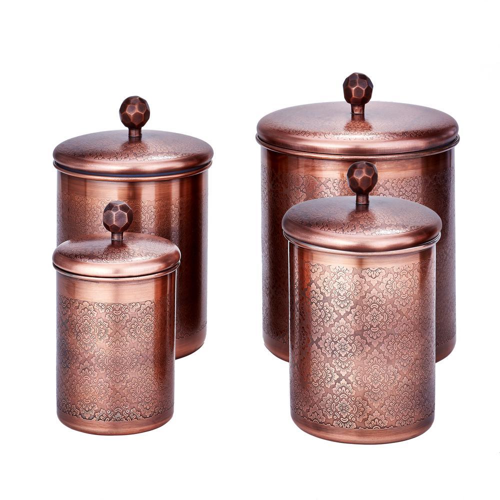 """Old Dutch 4-Piece 4 Qt, 3 Qt. and 2 Qt. Antique Copper """"Floral"""" Canister Set"""