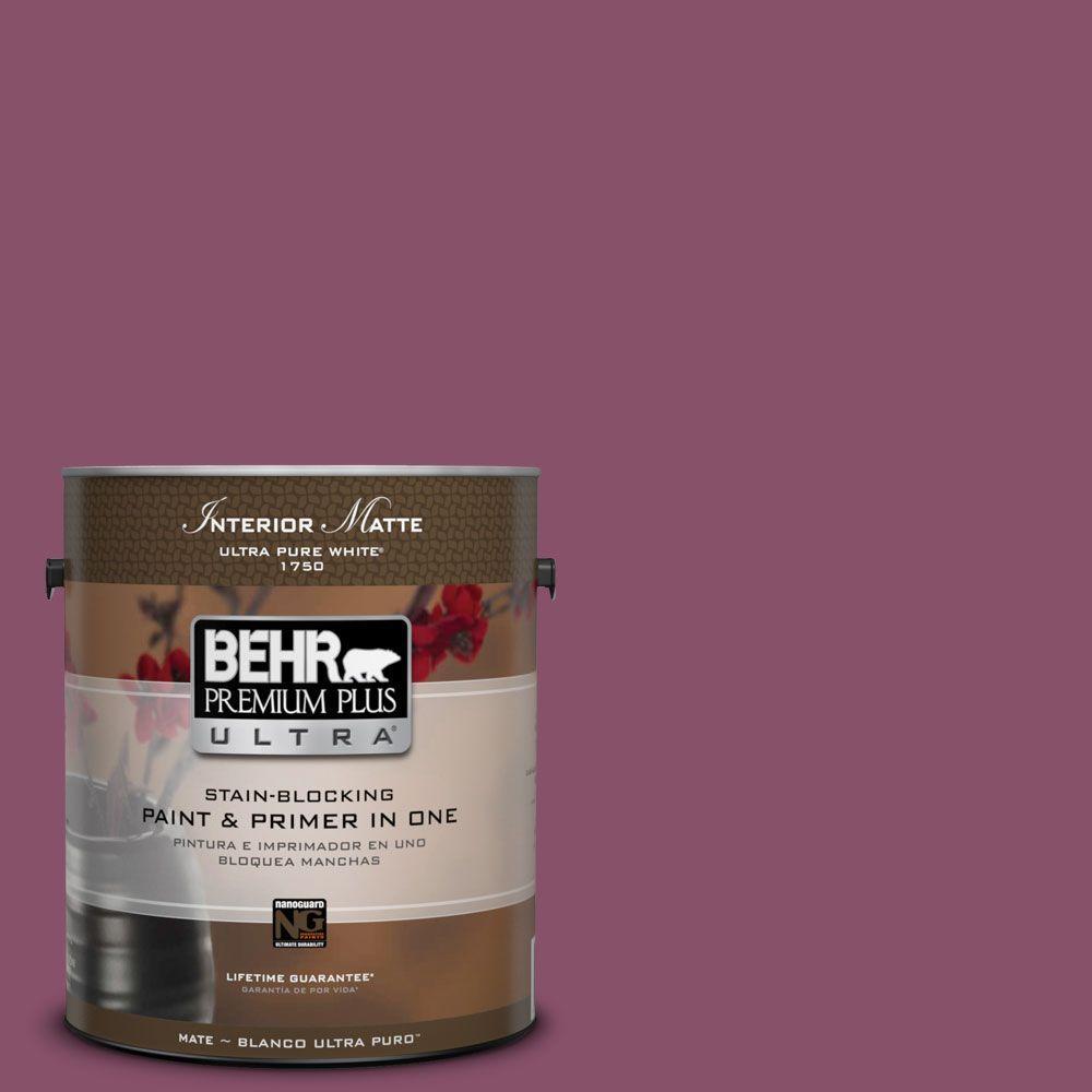 BEHR Premium Plus Ultra 1 gal. #M120-7 Raspberry Crush Matte Interior Paint