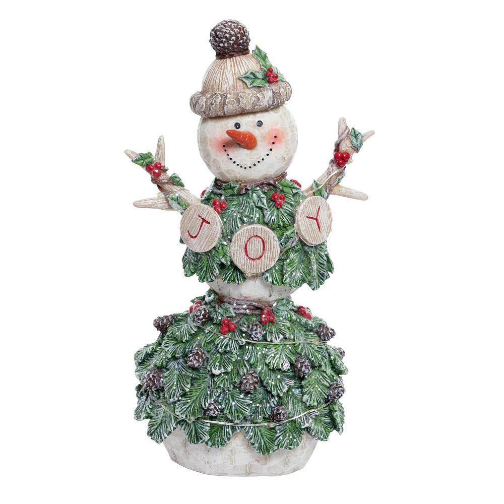 12 in. T Alpine Pine Covered  Joy  Snowman