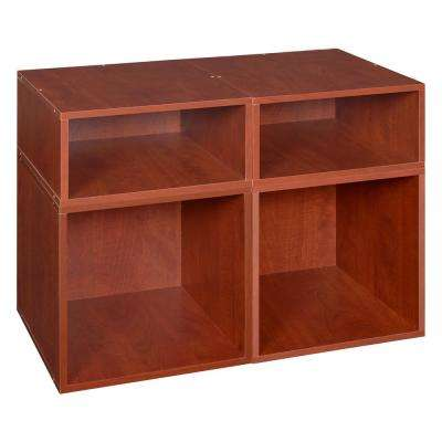 Cubo 26 in. x 19 in. Cherry 2-Full and 2-Half Cube Organizer