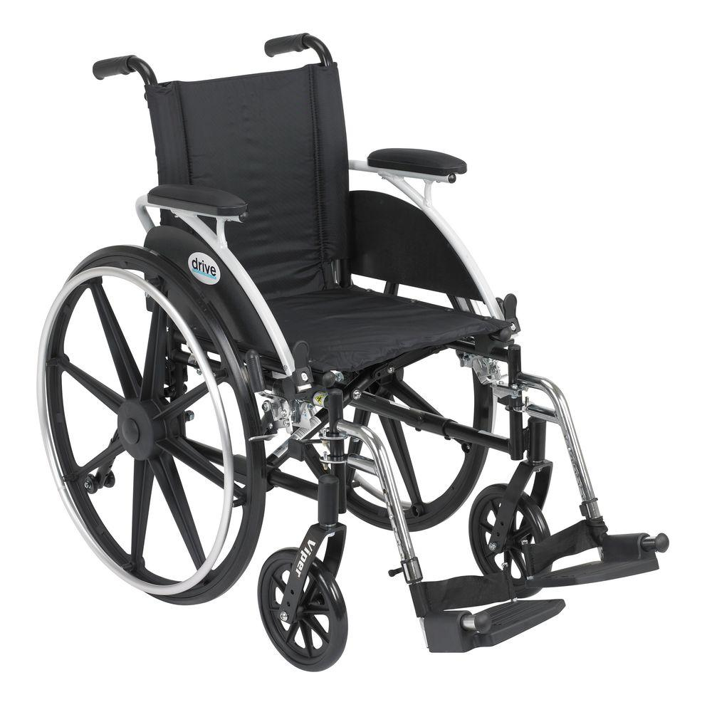 """Drive """"Viper Wheelchair with Flip Back Removable Arms, Desk Arms, Swing away Footrests, 14"""" Seat"""""""