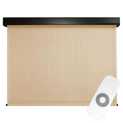 72 in. W x 96 in. L Clearwater Premium PVC Fabric Exterior Roller Shade Motor/Remote Operated with Protective Valance