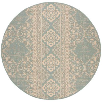 Beach House Cream/Aqua 7 ft. x 7 ft. Indoor/Outdoor Round Area Rug
