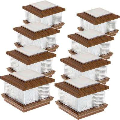 5 in. x 5 in. Solar Powered Integrated LED Wood Grain Plastic Post Cap Light with 4 in. and 5 in. Adapter (8-Pack)