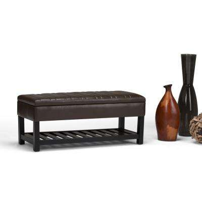 Memphis Chocolate Brown PU Faux Leather Storage Ottoman