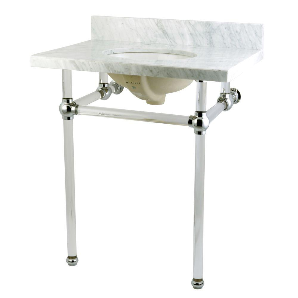 Kingston brass washstand 30 in console table in carrara white kingston brass washstand 30 in console table in carrara white with acrylic legs and connectors in polished chrome hkvpb30ma1 the home depot geotapseo Choice Image