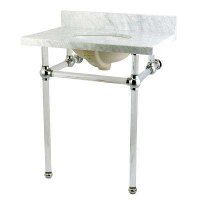 Washstand 30 in. Console Table in Carrara White with Acrylic Legs and Connectors in Polished Chrome