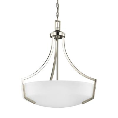 Hanford 3-Light Brushed Nickel Pendant with LED Bulbs