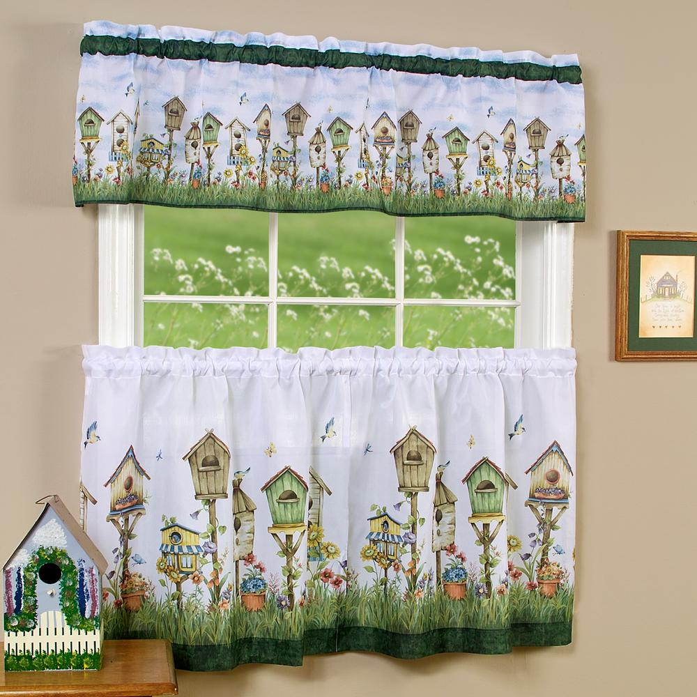 Home Sweet Home Multicolor Polyester Tier and Valance Curtain Set 58