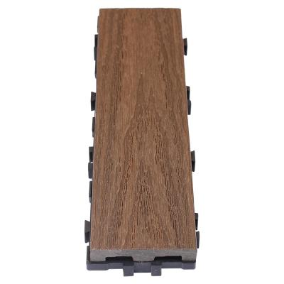 UltraShield Naturale 3 in. x 1 ft. Quick Composite Single Slat Deck Tile in Spanish Walnut (4-Pieces per Box)