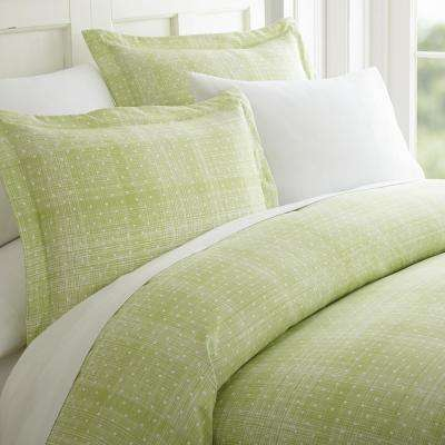 Polka Dot Patterned Performance Moss King 3-Piece Duvet Cover Set