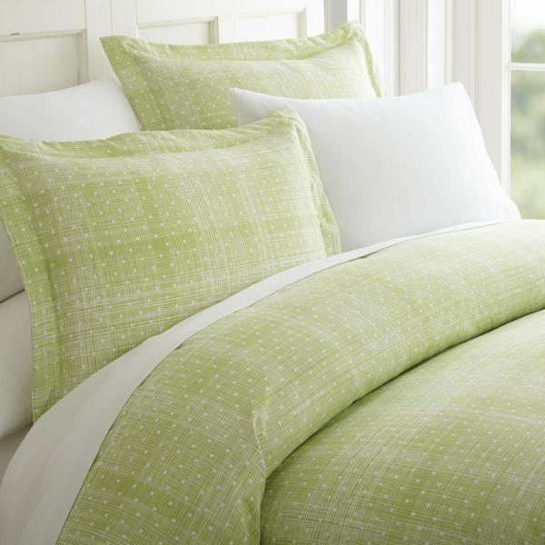 Becky Cameron Polka Dot Patterned Performance Moss King 3-Piece Duvet Cover