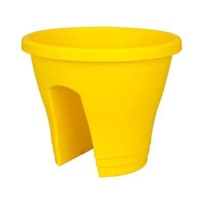 11-1/2 in. Round Lemon Flower Bridge Plastic Planter (Set of 2)