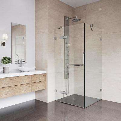 Monteray 34.125 in. x 73.375 in. Frameless Corner Hinged Shower Enclosure in Brushed Nickel with Clear Glass