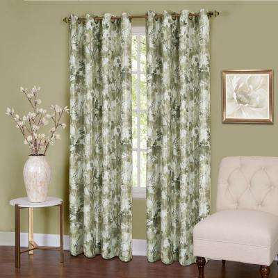 Tranquil  63 in. L Grommet Window Curtain Panel in Green Lined