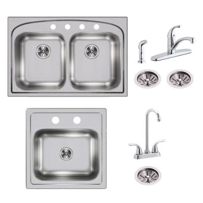 Pergola All-in-one Drop-In Stainless Steel 33 in. 4-Hole Double Bowl Kitchen Sink with Bar Sink, Faucets and Drains