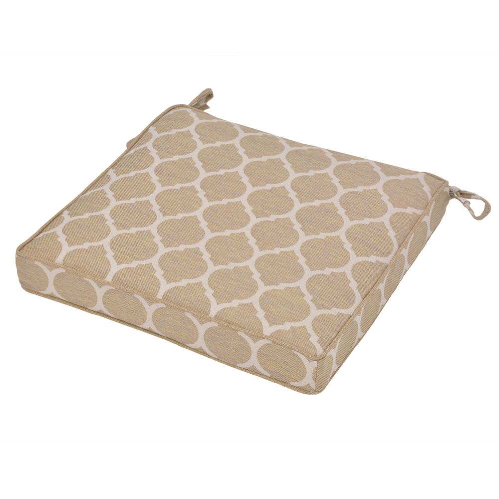 Hampton Bay Toffee/Toffee Ogee Square Outdoor Seat Cushion-7347 ...