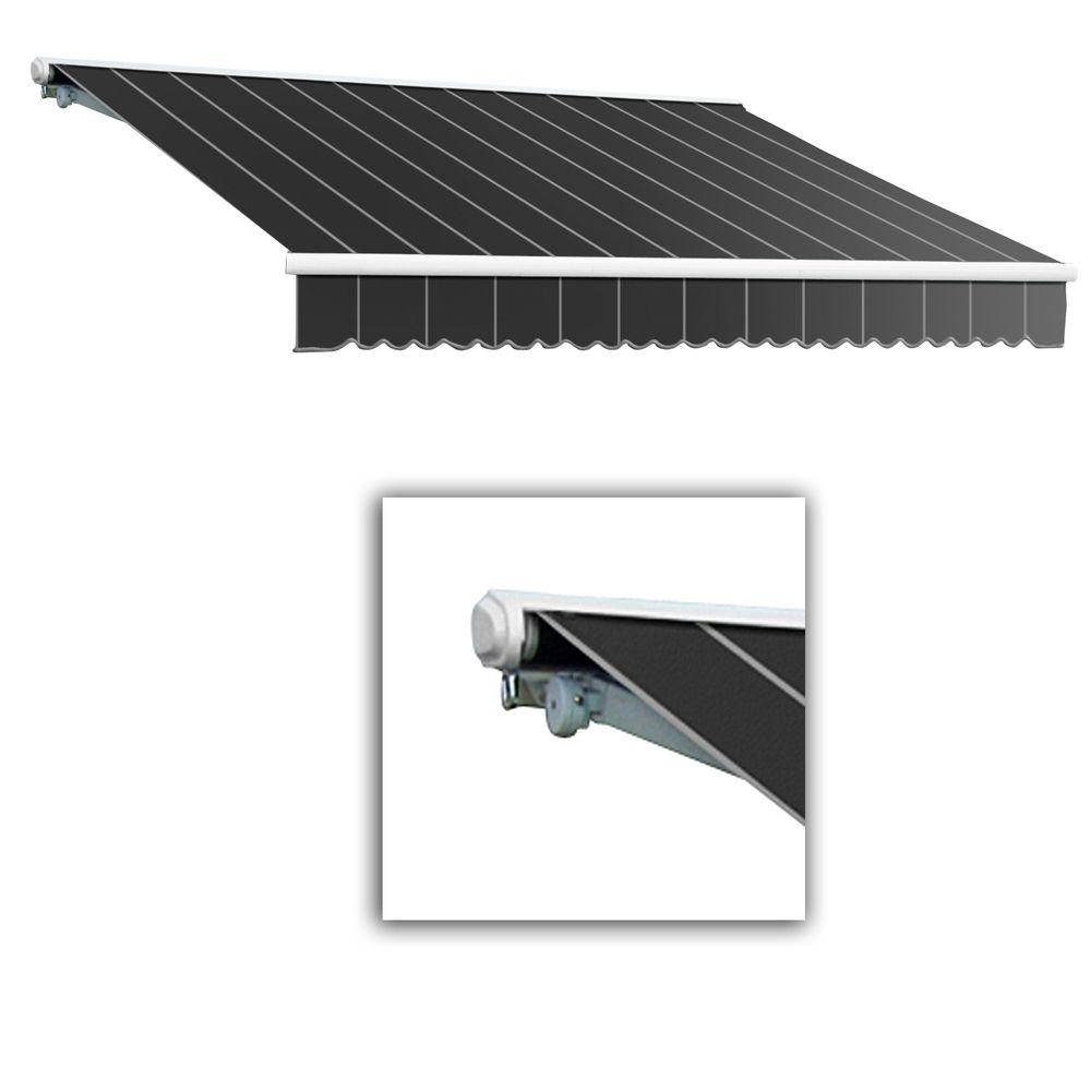 AWNTECH 8 ft. Galveston Semi-Cassette Left Motor with Remote Retractable Awning (84 in. Projection) in Gun Pin