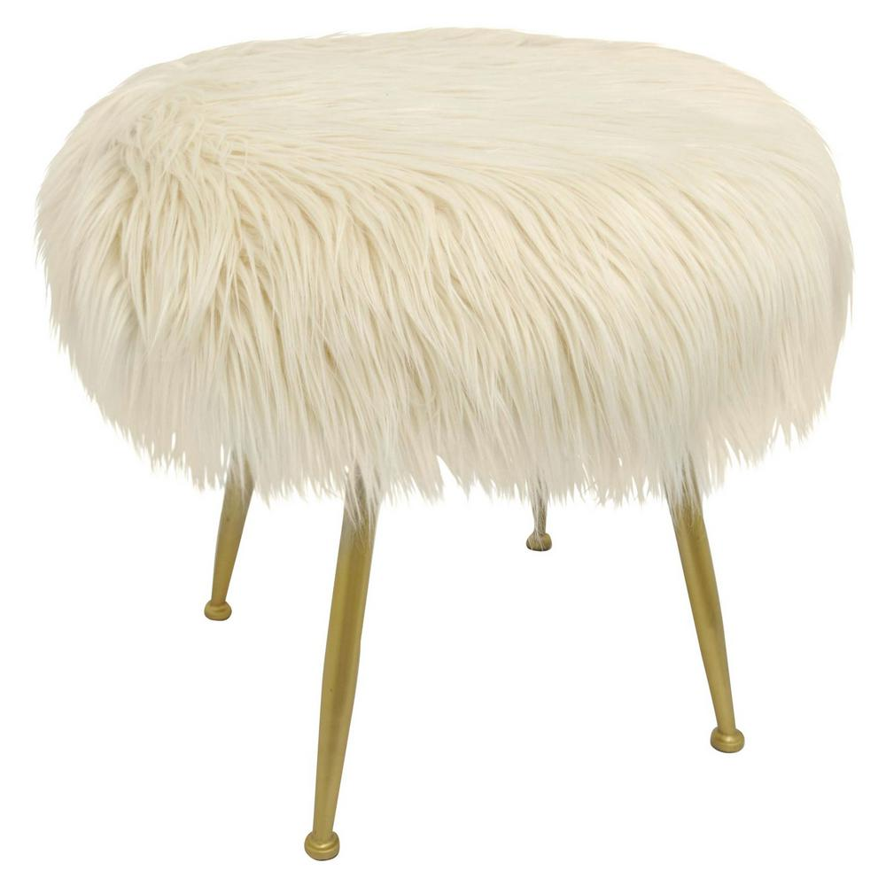 Three Hands 20 In White Metal Stool 40491 The Home Depot
