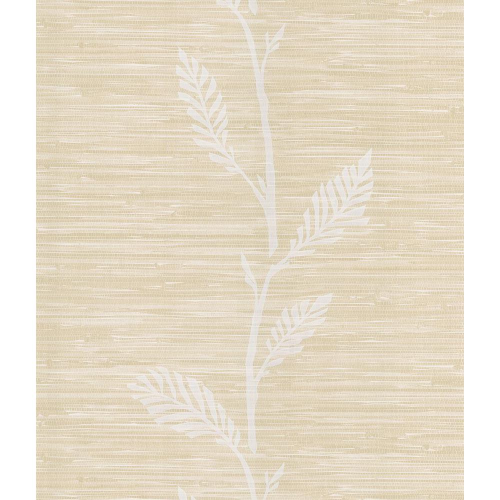 Nzimu Cream Grasscloth Leaf Wallpaper Sample