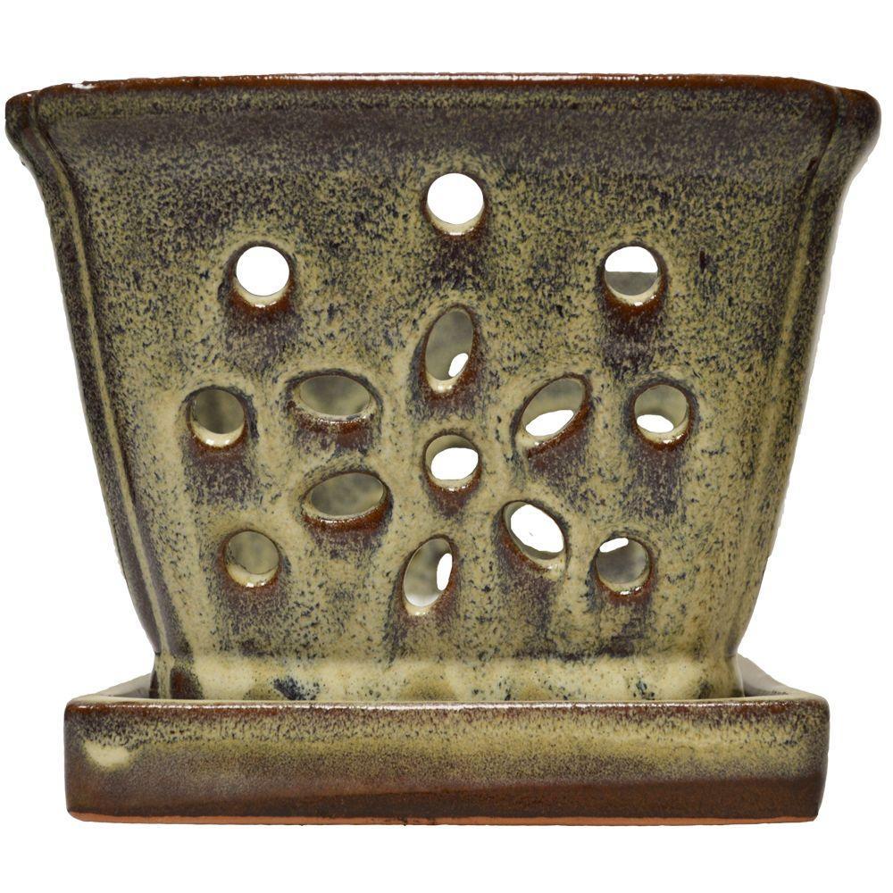 5 in. Square Beige Glazed Ceramic Orchid Pot