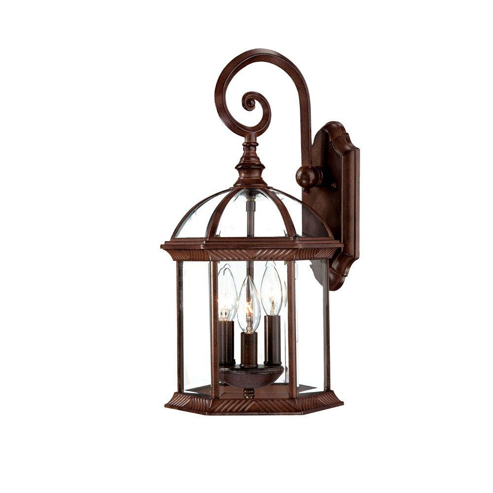 Dover Collection 3-Light Burled Walnut Outdoor Wall-Mount Light Fixture