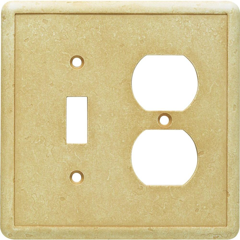Hampton Bay 2-Gang 1 Toggle 1 Duplex Oulet Cast Stone Wall Plate, Gold