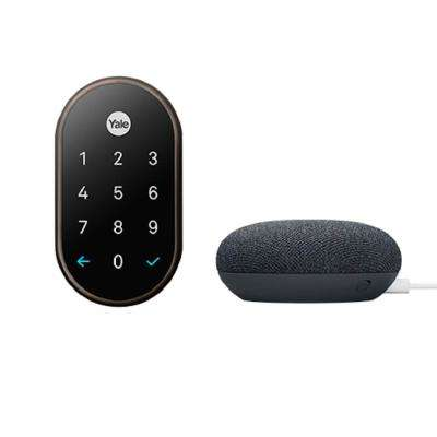 Nest x Yale Lock in Oil Rubbed Bronze with Google Home Mini Charcoal