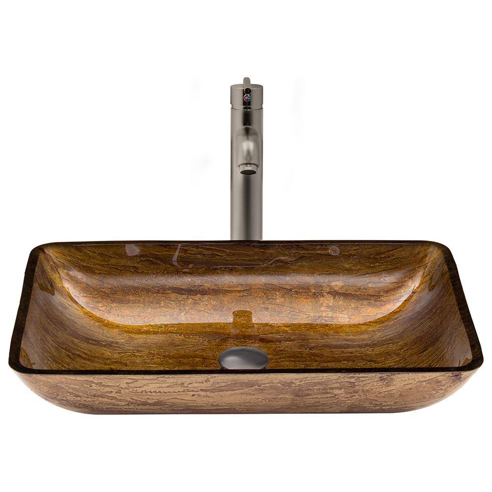 Rectangular Glass Vessel Sink in Amber Sunset with Faucet Set in