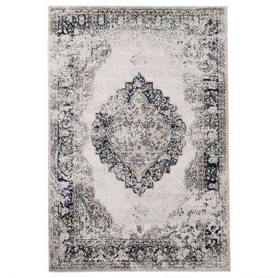 Beige Distressed 5 ft. x 7 ft. Medallion Area Rug