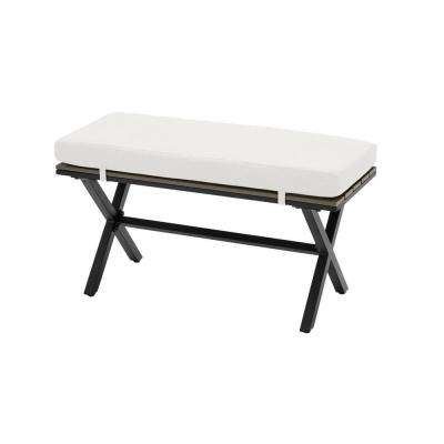Laguna Point Brown Steel with Wood Top Outdoor Patio Bench with CushionGuard Chalk White Cushions